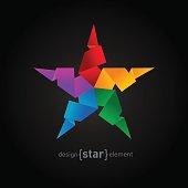 Rainbow Origami Star on black background