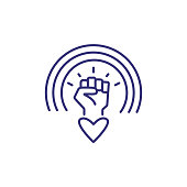 Rainbow over clenched fist and heart line icon