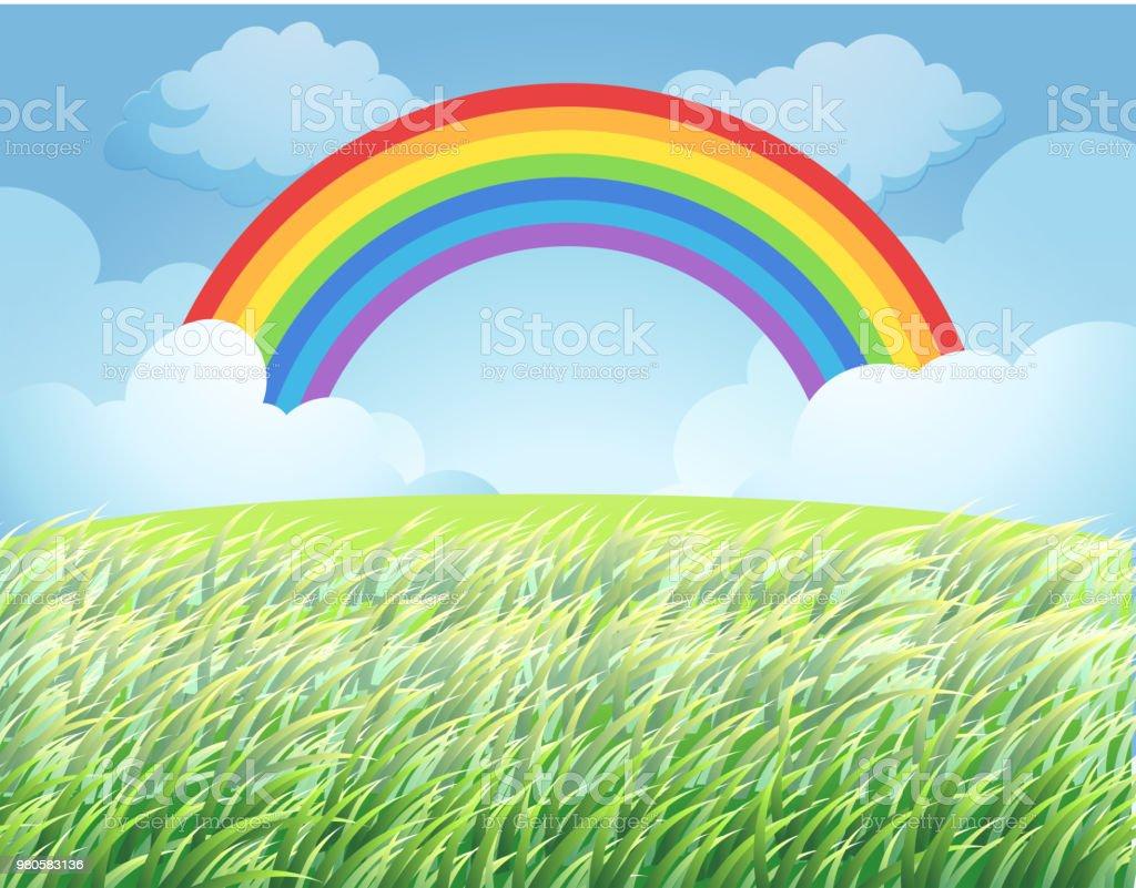 虹の田んぼ イラストレーションのベクターアート素材や画像を多数ご