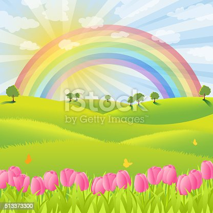 istock Rainbow Over the Spring Nature 513373300
