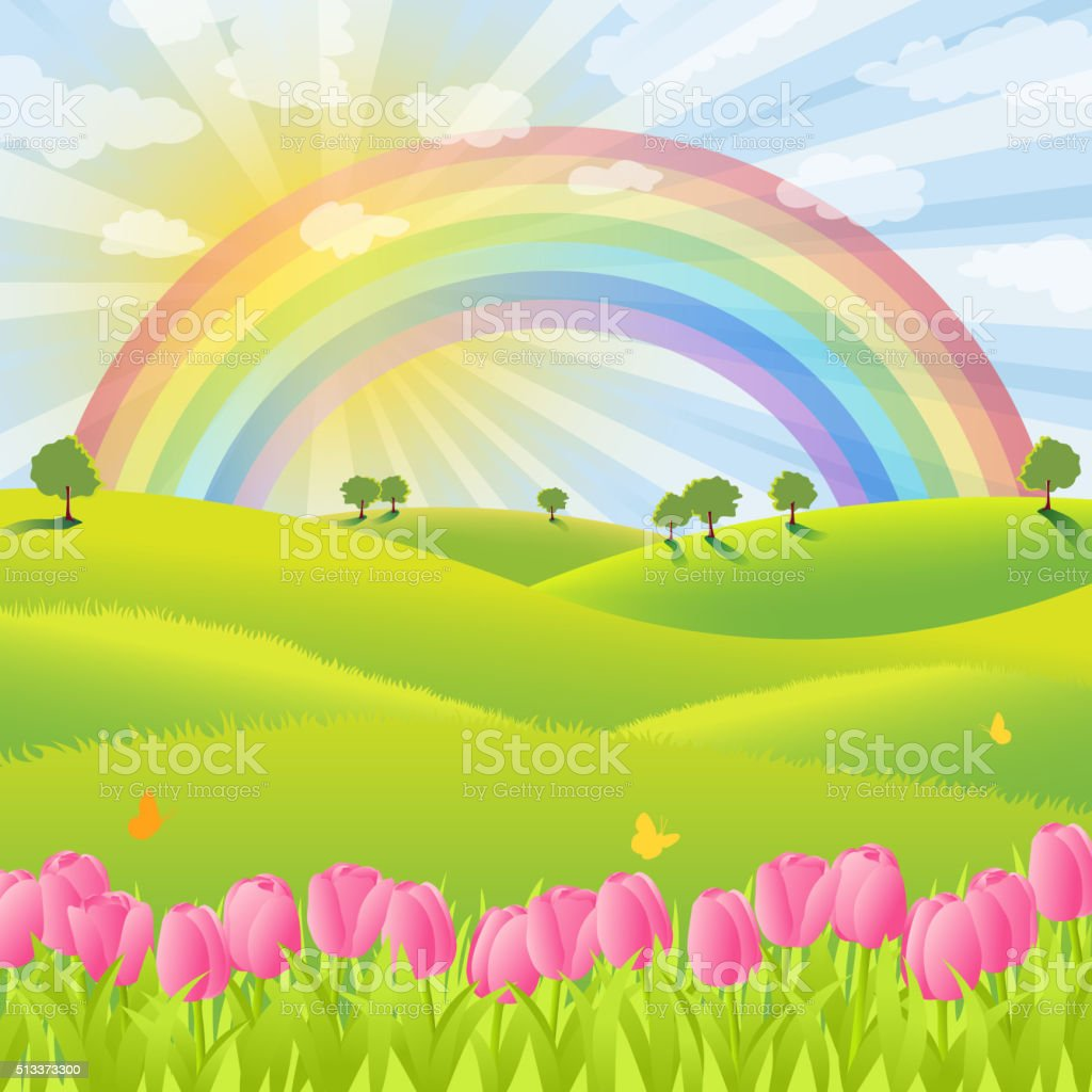 Rainbow Over the Spring Nature vector art illustration