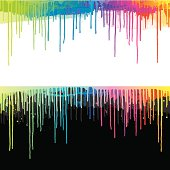 Bright colourful paint drips on black or white background.