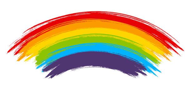 stockillustraties, clipart, cartoons en iconen met rainbow paint element geïsoleerd op witte achtergrond - regenboog