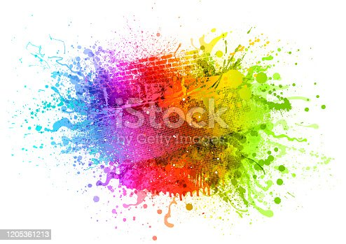 istock Rainbow paint splash background 1205361213