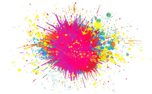 Rainbow paint splash background vector art illustration