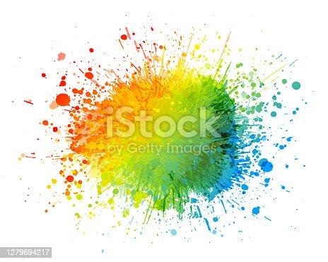 istock Rainbow paint splash background 1279694217