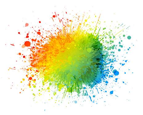 Rainbow paint splash abstract vector on white background