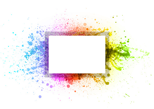 Rainbow paint splash frame
