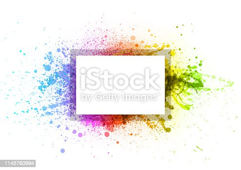 Rainbow paint splash abstract vector frame background