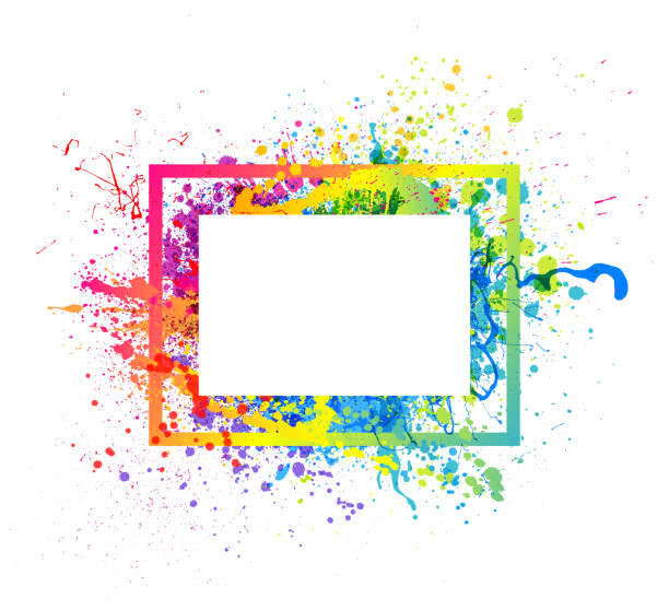 rainbow paint splash frame - насыщенный цвет stock illustrations