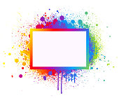 Rainbow paint splash abstract vector frame background