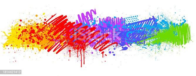 istock Rainbow paint splash marker pen background 1314421412