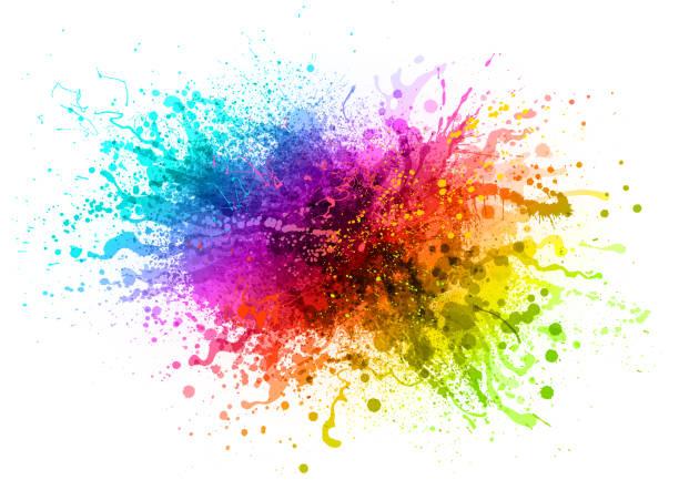 tęczowa farba pluskać - kolory stock illustrations