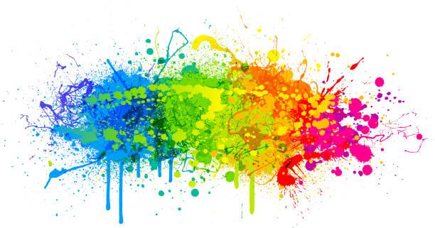 Rainbow paint splash Rainbow paint splash abstract vector background graffiti background stock illustrations