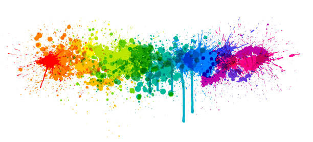 illustrazioni stock, clip art, cartoni animati e icone di tendenza di rainbow paint splash - sfondo graffiti