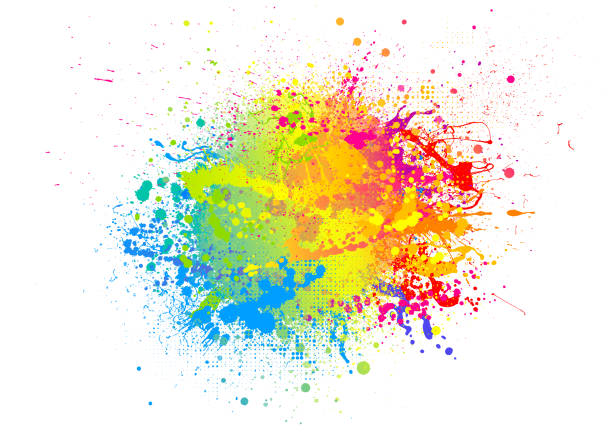 Rainbow paint splash Rainbow paint splash abstract vector background splattered stock illustrations