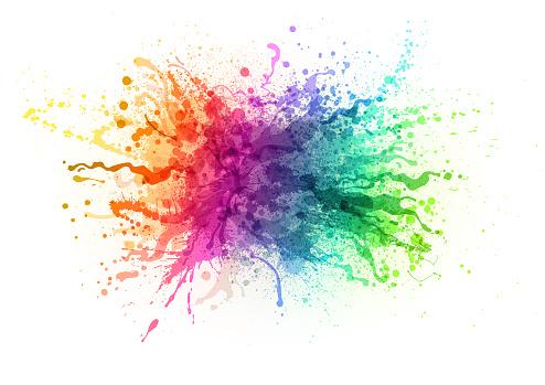 Rainbow paint splash abstract vector background