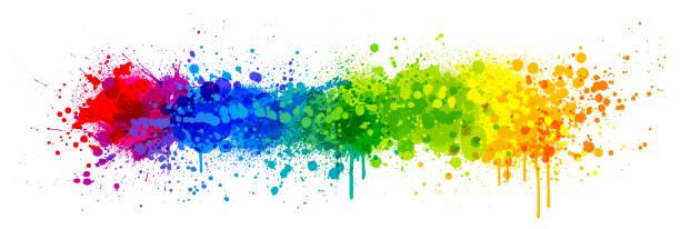 rainbow paint splash - graffiti background stock illustrations
