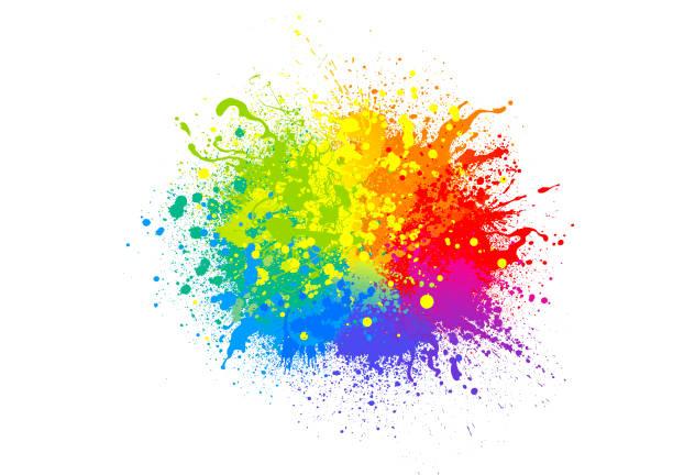ilustrações de stock, clip art, desenhos animados e ícones de rainbow paint splash - imagem a cores
