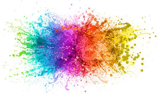 Bright colorful rainbow paint splash abstract vector illustration