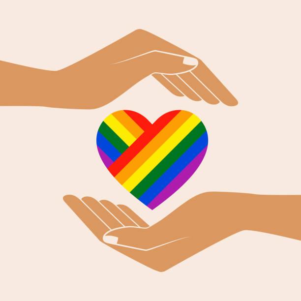 ilustrações, clipart, desenhos animados e ícones de arco-íris pintada coração nas palmas das mãos abertas - lgbt