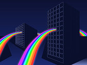 Minimalist three-dimensional vector illustration - Rainbow passing through the houses.
