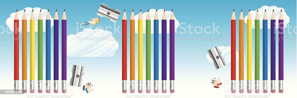 Rainbow Pencils in the sky royalty-free rainbow pencils in the sky stock vector art & more images of backgrounds