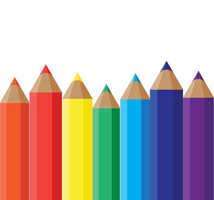 Rainbow pencils set banner. Illustration in flat style.