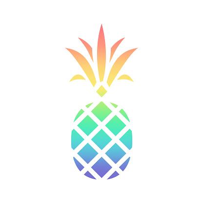 Rainbow Pineapple - Isolated Vector Symbol