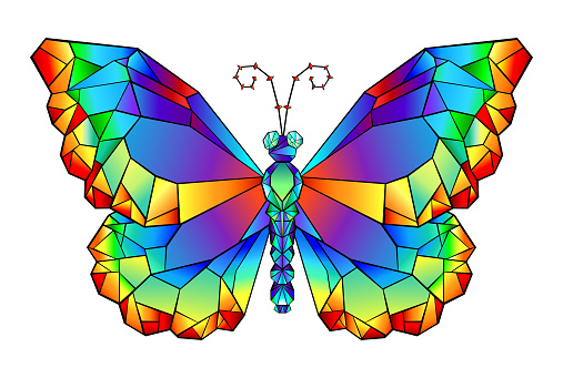 Rainbow polygonal butterfly