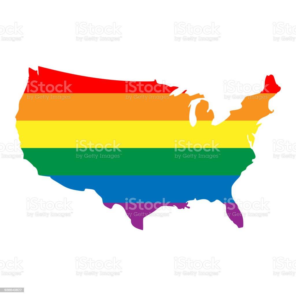 Lgbt Rainbow Pride Flag In A Shape Of Usa Map Lesbian Gay