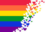 Rainbow Pride flag (Freedom flag) with heart elements - LGBT community and movement of sexual minorities.