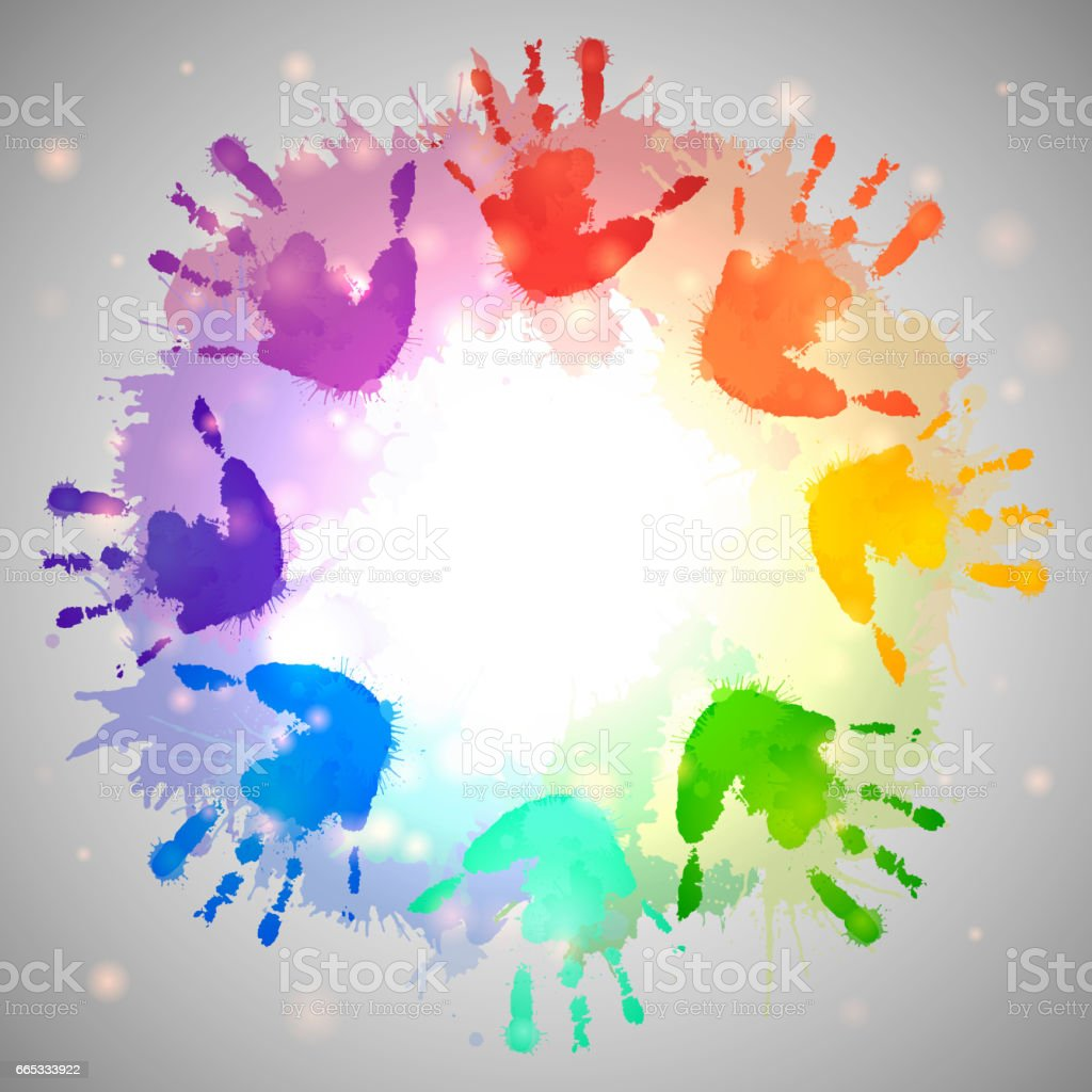 Rainbow prints of children hands and watercolor splashes in the circle. Vector frame for postcards and your design vector art illustration