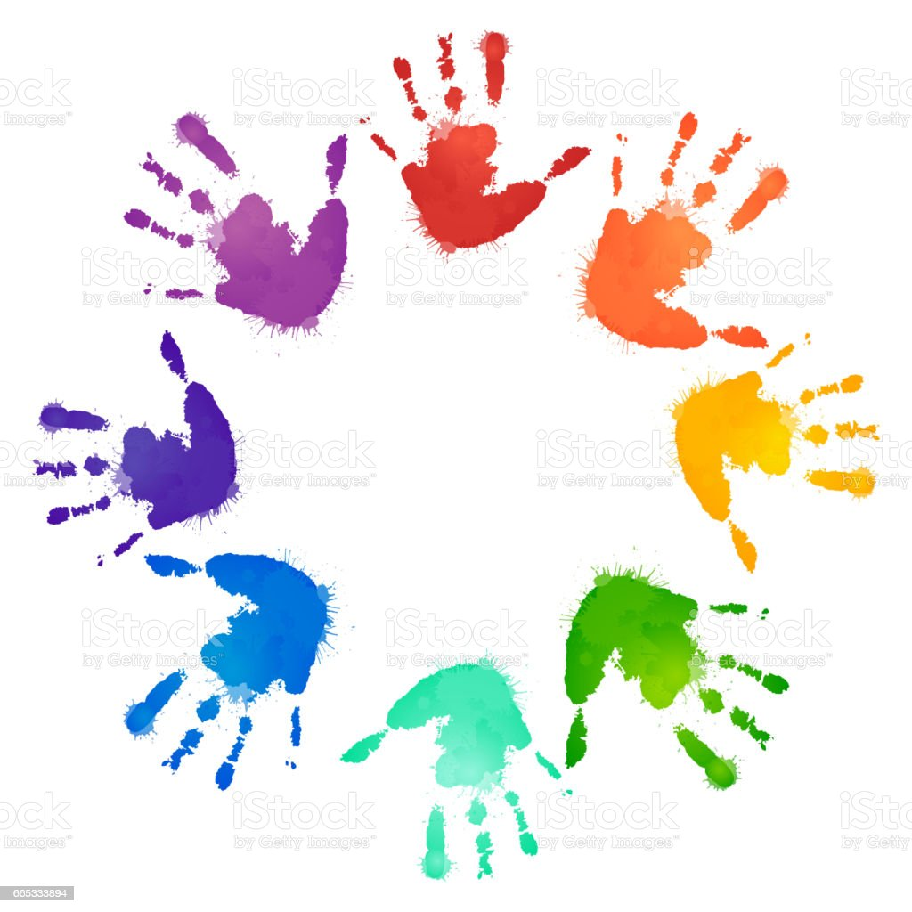 Rainbow prints of children hands in the circle. Vector frame for postcards and your design - illustrazione arte vettoriale