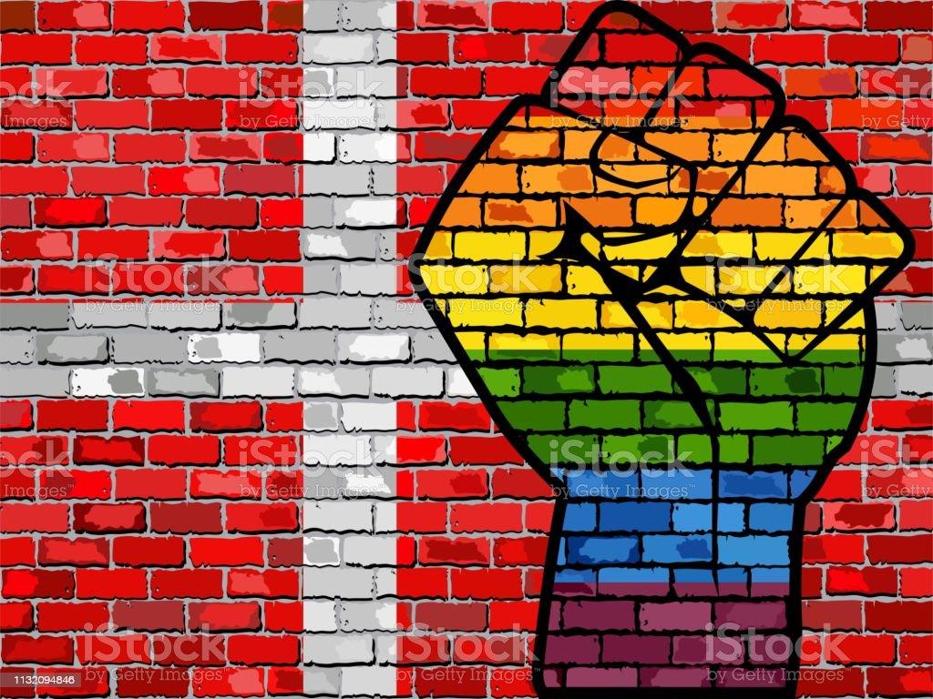 Rainbow Protest Fist on a Denmark Brick Wall Flag royalty-free rainbow protest fist on