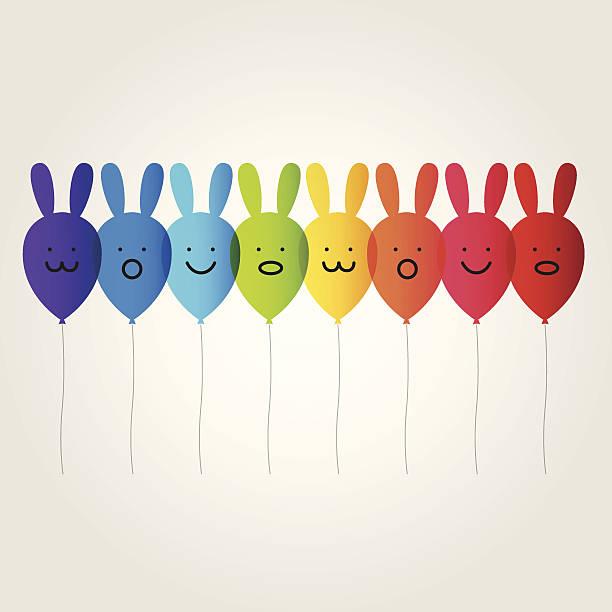 illustrations, cliparts, dessins animés et icônes de lapin rainbow balloon - ballon anniversaire smiley