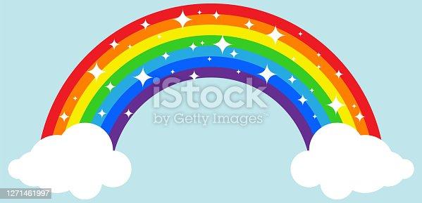 Rainbow. Rainbow with clouds on a blue background. Vector, cartoon illustration. Vector.