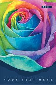Greeting card with futuristic rose colored in the spectrum colours on the dark background