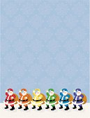 A row of colorful Santas on blue snowflake pattern with plenty of room for text. Ho! Ho! Ho!