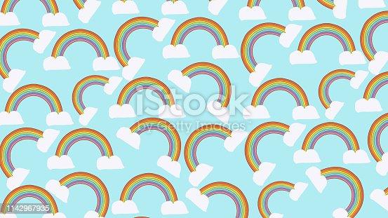 istock Rainbow Seamless Pattern Background 1142967935