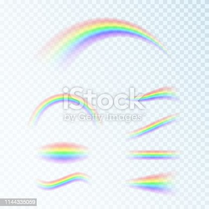 Rainbow set in different shapes. Fantasy art design. Spectrum of light, seven colors. Vector illustration isolated on transparent background