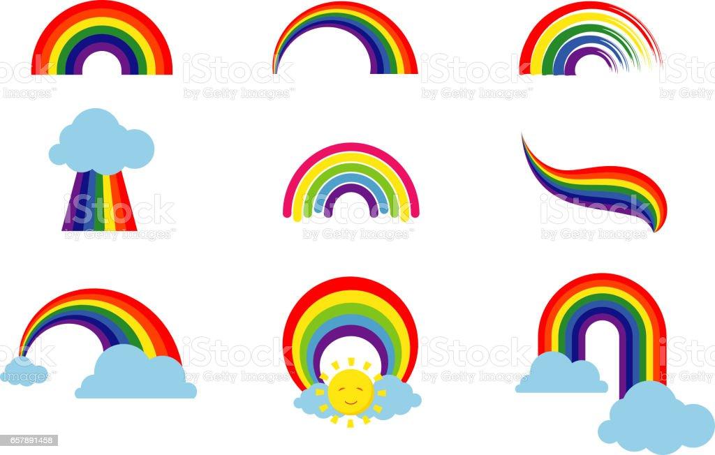 Arco iris encuentra aislado sobre fondo blanco. Arco de luz multicoloras rayas iconos vector ilustración - ilustración de arte vectorial