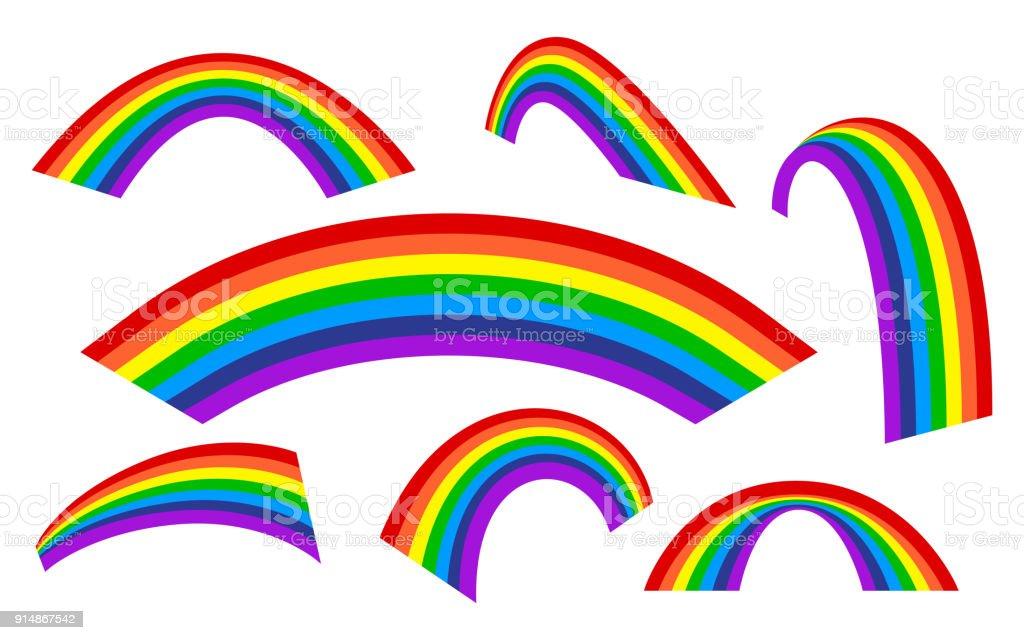 Conjunto arco iris. Arco iris arco de diferentes estilos. - ilustración de arte vectorial