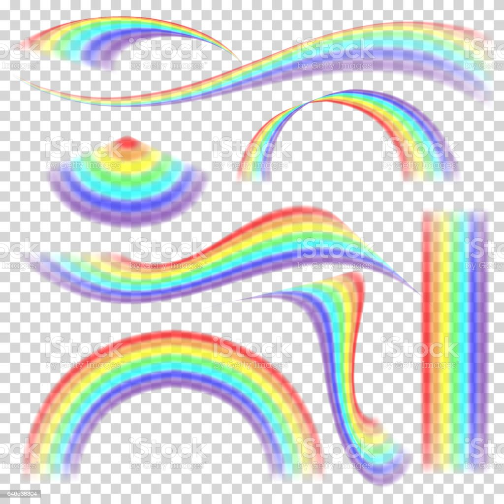 Rainbow Set Vector. Different Shape Collection. Realistic Rainbow Set Isolated On Transparent Background vector art illustration