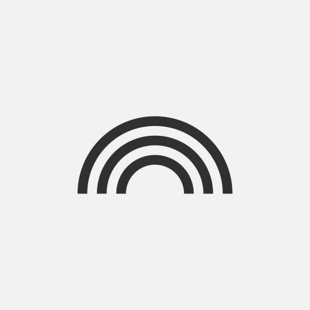 ilustrações, clipart, desenhos animados e ícones de ícone do sinal do arco-íris isolado no fundo branco. ilustração do vetor. - arco íris