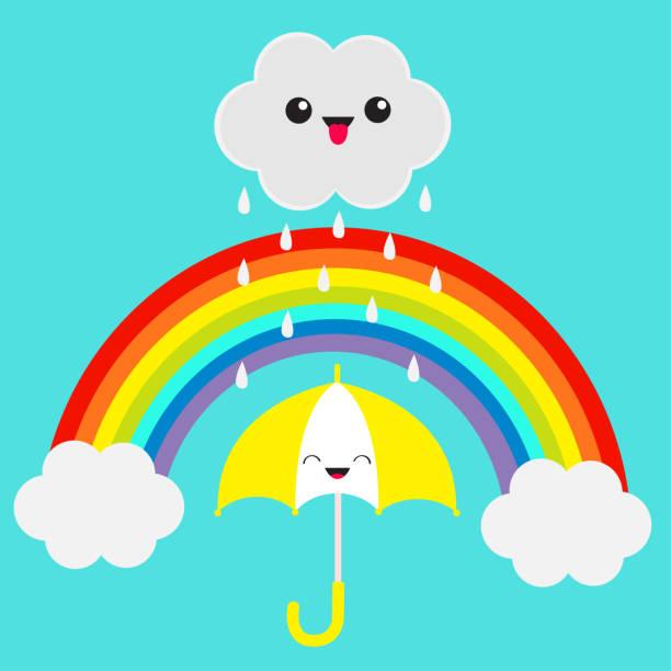 Regenbogen. Lächelnd lachende Dach. Niedlichen Cartoon Kawaii Wolke mit Regen fällt. Zeigt Zunge Emotion. Augen und Mund. Blauer Himmelshintergrund. Lustiger Charakter Emoji Babykollektion. Flaches Design. – Vektorgrafik