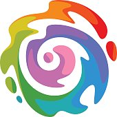Rainbow spiral on a white background