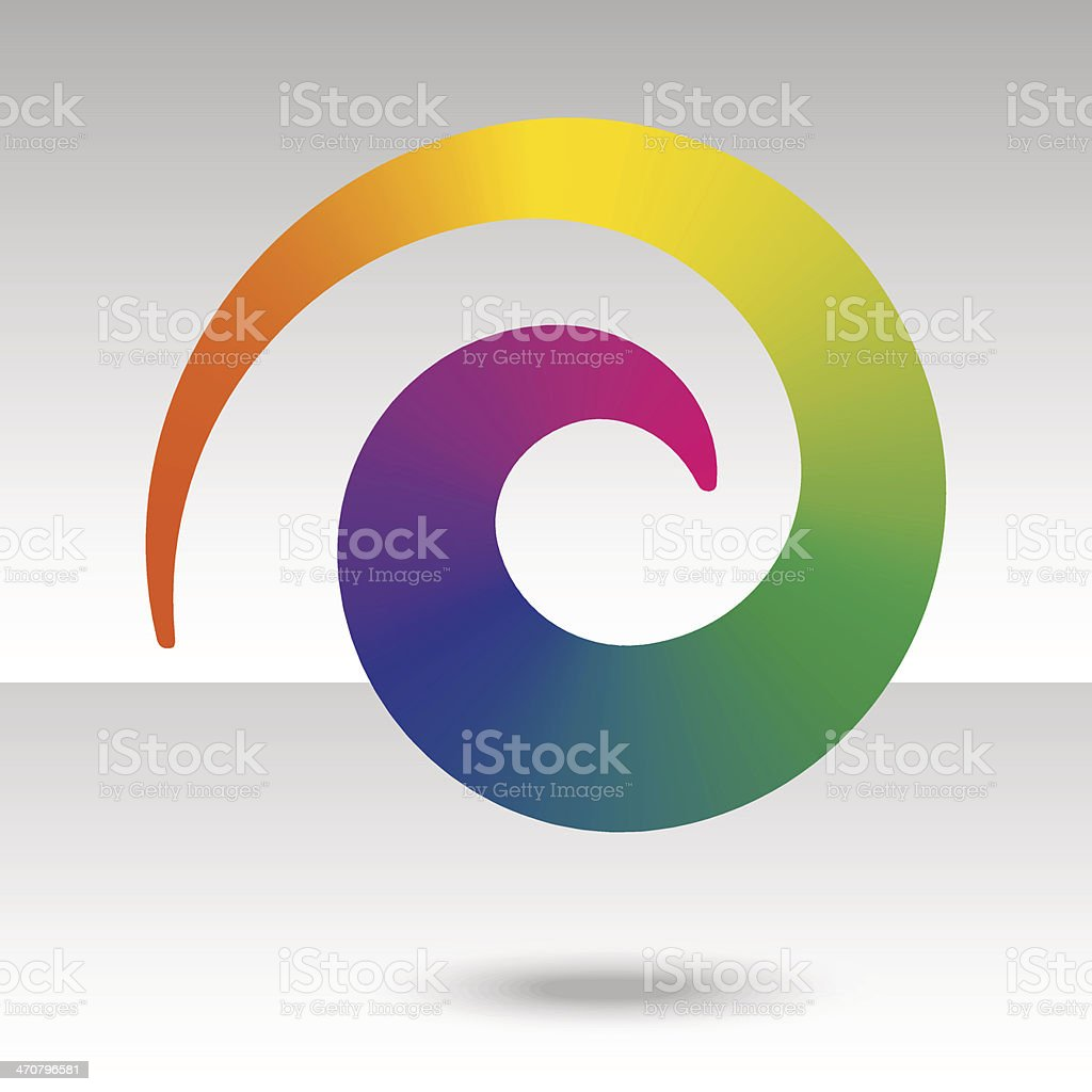rainbow spiral with shadow vector art illustration