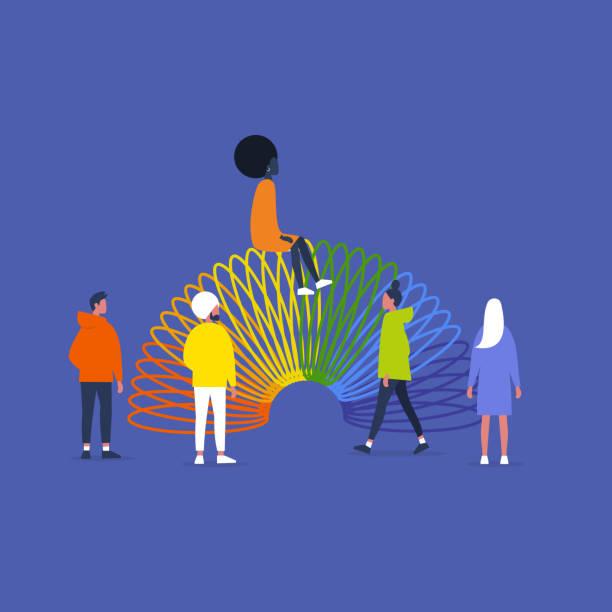 ilustraciones, imágenes clip art, dibujos animados e iconos de stock de juguete de primavera arco iris. comunidad lgbt. diversidad. gente con ropa colorida. apoyar los derechos lgbtq. - black people