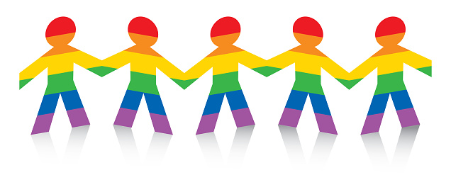 Rainbow Striped Figures Holding Hands